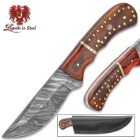 Legends in Steel Damascus Crusader Bowie with Genuine Leather Sheath