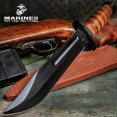 "USMC Combat Fighter Fixed Blade Knife With Leather Sheath - Heat-Treated Blade, Stacked Leather Handle - 12 1/2"" Length"