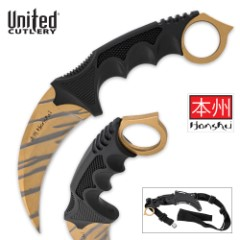 Honshu Gold Tiger Stripe Karambit Limited Editon