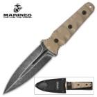 USMC Scorching Sands G10 Stonewashed Dagger with Nylon Sheath