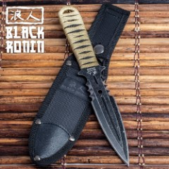 Black Ronin Boot Knife - Double-Edged Spear Point Blade - Heavy Duty Nylon Sheath