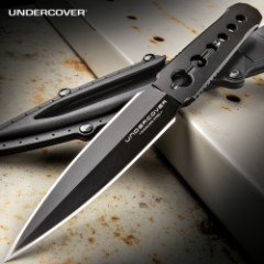 Undercover CIA Stinger Knife And Sheath - One-Piece 3Cr13 Steel Construction, Black Oxide Coating, Thru-Holes - Length 7 1/8""