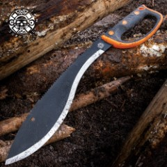 Colombian Rescue Sawback Kukri With Sheath - Stainless Steel Non-Reflective Blade, Rubberized Injection-Molded Handle - Length 21""