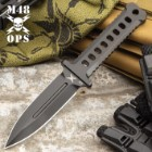 M48 Black Combat Dagger With Sheath - CNC Machined D2 Tool Steel, Non-Reflective Finish, Perforated Handle - Length 8 3/4""