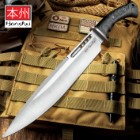 Honshu Boshin Toothpick Knife With Sheath - 7Cr13 Stainless Steel Blade, Contoured TPR Handle, Lanyard Hole - Length 18 3/4""