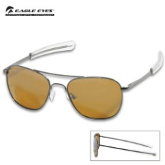 Eagle Eyes Freedom Gold Mirrored Sunglasses- Stainless Steel Frames, Polarized Lenses, Silicone Nose Grips