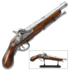 Replica Decorative Flintlock Pirate Pistol With Stand - Crafted of Wood And Metal, Accurate Reproduction - Length 15 1/4""