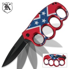 Assisted Opening CSA Rebel Flag Knuckle Guard Folding Trench Knife