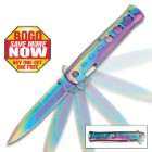 Rainbow Titanium Stiletto Assisted Opening Pocket Knife - BOGO