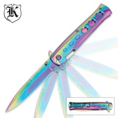 Rainbow Titanium Folding Stiletto Knife