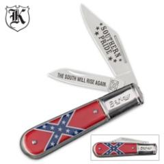 Confederate Rebel Flag Barlow Folding Pocket Knife