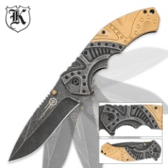 Gears and Gold Steampunk Folding Pocket Knife
