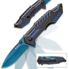 Matrix Assisted Opening Rescue Pocket Knife - Electric Blue