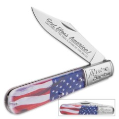 USA Flowing Flag Master Barlow Pocket Knife