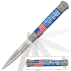 If This Flag Offends You... American Flag Assisted Opening Stiletto Knife