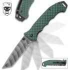 SOA Green Beret Scout Pocket Knife - Stainless Steel Blade, G10 Textured Handle, Pocket Clip, Flipper - Closed 5""