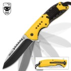 SOA Scout Assisted Opening Pocket Knife - Yellow with Black Paracord Wrapping