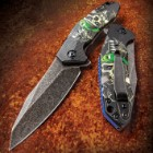 Necrophobia Easy Opening Pocket Knife with Haunting Full-Color Skull Graphics