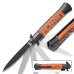FUBAR Wooden Handle Stiletto Pocket Knife - Stonewashed Blade, Assisted Opening, Wooden Handle, Stonewashed Bolsters