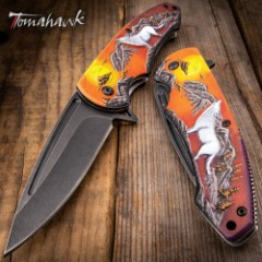 Mountain Wolf Assisted Opening Pocket Knife - Stonewashed Stainless Steel Blade, Sculpted TPU Handle Scale, Pocket Clip