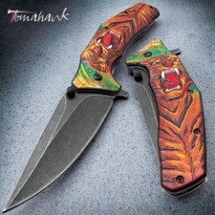 Tiger Stalker Assisted Opening Pocket Knife - Stonewashed Stainless Steel Blade, Sculpted TPU Handle Scale, Pocket Clip