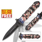 Liberty's Price Assisted Opening Stiletto Knife - Stainless Steel Blade, TPU Handle, Colorful Detailed Artwork, Pocket Clip - BOGO
