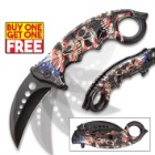 Liberty's Price Assisted Opening Karambit Knife - Stainless Steel Blade, TPU Handle, Colorful Detailed Artwork, Pocket Clip - BOGO