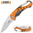 """BugOut Carabiner Pocket Knife - Stainless Steel Locking Blade, Cast Aluminum And TPU Handle - Length 4 3/4"""""""
