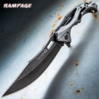 "Rampage Tailwind Ball Bearing Pocket Knife - Stainless Steel Blade, Aluminum And Steel Handle, Pocket Clip - 4 3/4"" Closed"