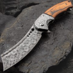 Boot Hill Razor Pocket Knife - Damascus Steel Blade, Wooden Handle Scales, Assisted Opening, Damascus Bolsters, Pocket Clip