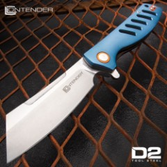 Contender Guillotine Advanced Ball Bearing Pocket Knife - D2 Tool Steel Blade, Aluminum Handle, Pocket Clip - Closed Length 5""