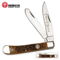 Boker Tree Brand Brown Bone Trapper Pocket Knife