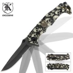 Black Legion Skull Camo Knife