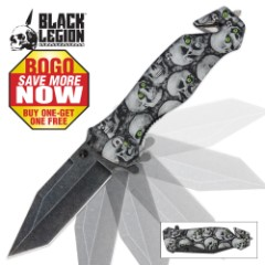 Black Legion Green-Eyed Skull Pocket Knife 2 for 1
