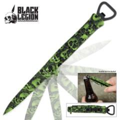 Black Legion Skull Camo Assisted Open Stiletto Green
