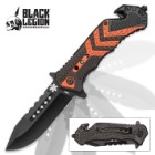Black Legion EMT Rescue Pocket Knife with Seatbelt Cutter, Glass Breaker