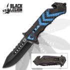 Black Legion Police Rescue Pocket Knife with Seatbelt Cutter, Glass Breaker