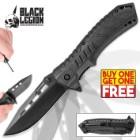 Black Legion Black Pocket Knife With Fire Starter - BOGO