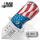 Black Legion USA Flag Money Clip Assisted Opening Mini Pocket Knife
