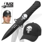 Punisher Skull Assisted Opening Stiletto Pocket Knife with Free Punisher Cap / Hat