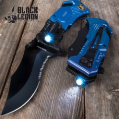 Black Legion Police Everyday Carry Assisted Opening Pocket Knife with Built-In Flashlight