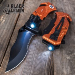 Black Legion EMS Everyday Carry Assisted Opening Pocket Knife with Built-In Flashlight