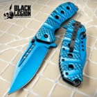 Black Legion Cyanide Assisted Opening Pocket Knife - Cobalt Blue Finish