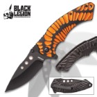 Black Legion Primordial Sunset Pocket Knife - Stainless Steel Blade, Assisted Opening, Anodized Aluminum Handle, Pocket Clip