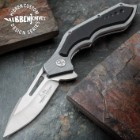 Hibben Hurricane Pocket Knife - 7Cr17 Stainless Steel Blade, CNC Machined, Ball Bearings, Black G10 Handle Scales