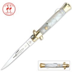 Kissing Crane Mother of Pearl Stiletto Pocket Knife