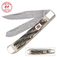 Kissing Crane Burnt Bone Damascus Trapper Pocket Knife
