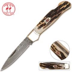 Kissing Crane Damascus Pocket Knife Filework Burnt Bone