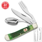 Kissing Crane Green Bone Camp Dining Tool - Genuine Jigged Bone, CrMoV17 Stainless Steel Utensils, Brass-Plated Bolsters, Separates Into Three Pieces - Closed Length 4 1/4""
