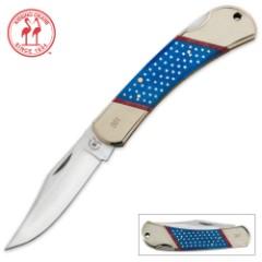 Kissing Crane Old Glory Independence Lockback Folding Pocket Knife